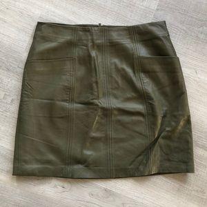 Olive green leather mini skirt